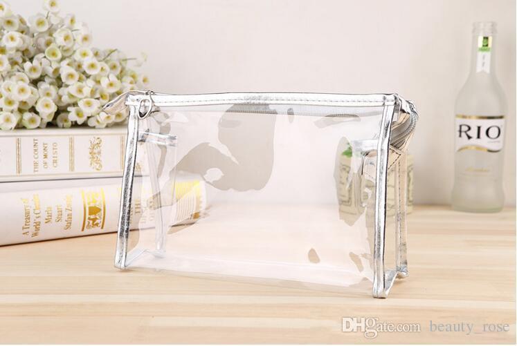 Bolsa de maquillaje transparente de PVC alta calidad esteticista bolsa de cosméticos a prueba de agua bolsas de almacenamiento de viaje de las mujeres bolso de DHL envío gratis