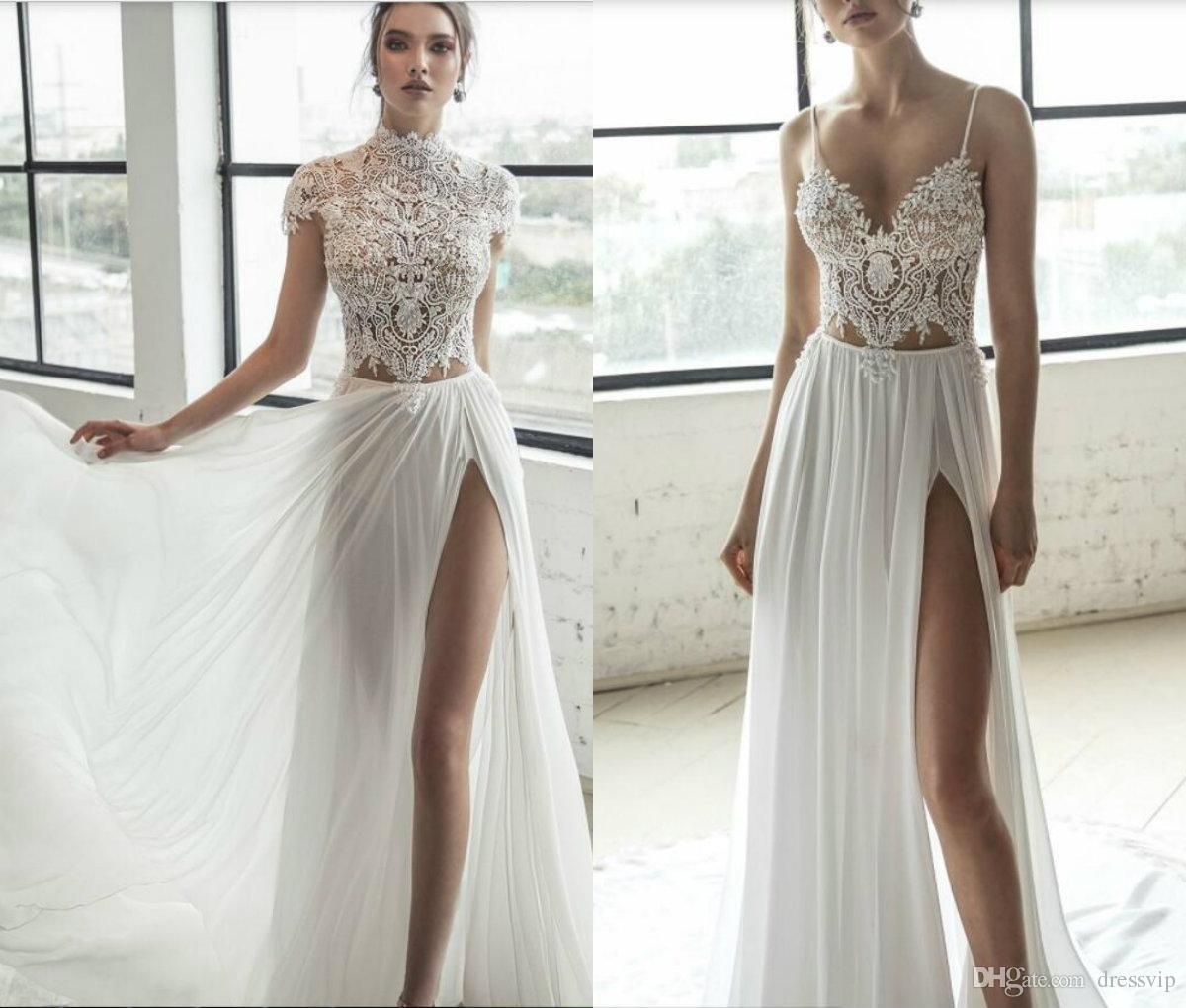 2019 Julie Vino Beach Wedding Dresses With Wrap Side Split Spaghetti Side  Split Sexy Boho Wedding Gowns Sweep Train Bohemian Bridal Dress Plus Size  Wedding ... ac0e82f653c3