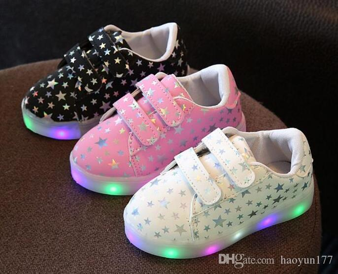 6b0590a87b35 New Spring Autumn Kids Shoes Boys Girls LED Lighted Sneakers Children S  Casual Shoes Shiny Stars Soft Shoes Buy Kids Shoes Online Best Kids Shoes  From ...