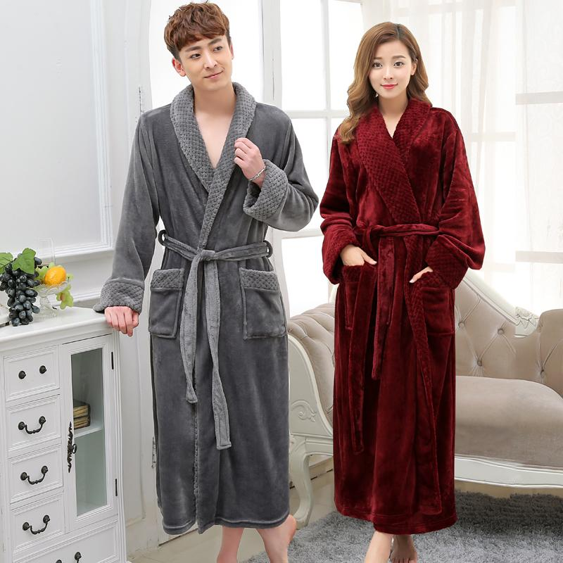 2019 Hot Selling Lovers Long Warm Coral Fleece Bathrobe Men Winter Super  Soft Flannel Kimono Bath Robe Male Dressing Gown Mens Robes From Bishops 414623234