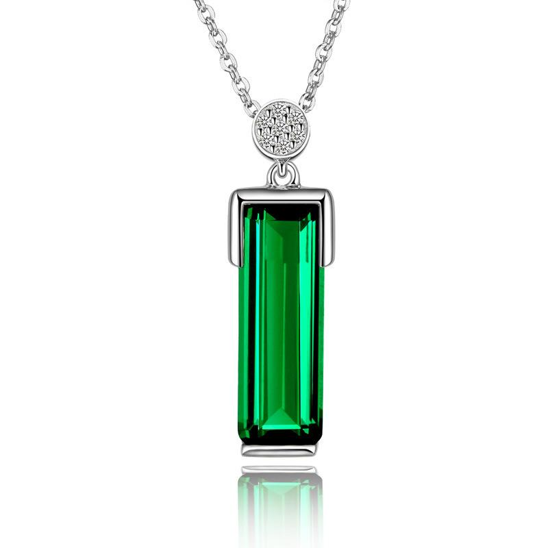 Europe and the United States new plated 925 silver 18K gold emerald pendant gemstone tourmaline color necklace gift