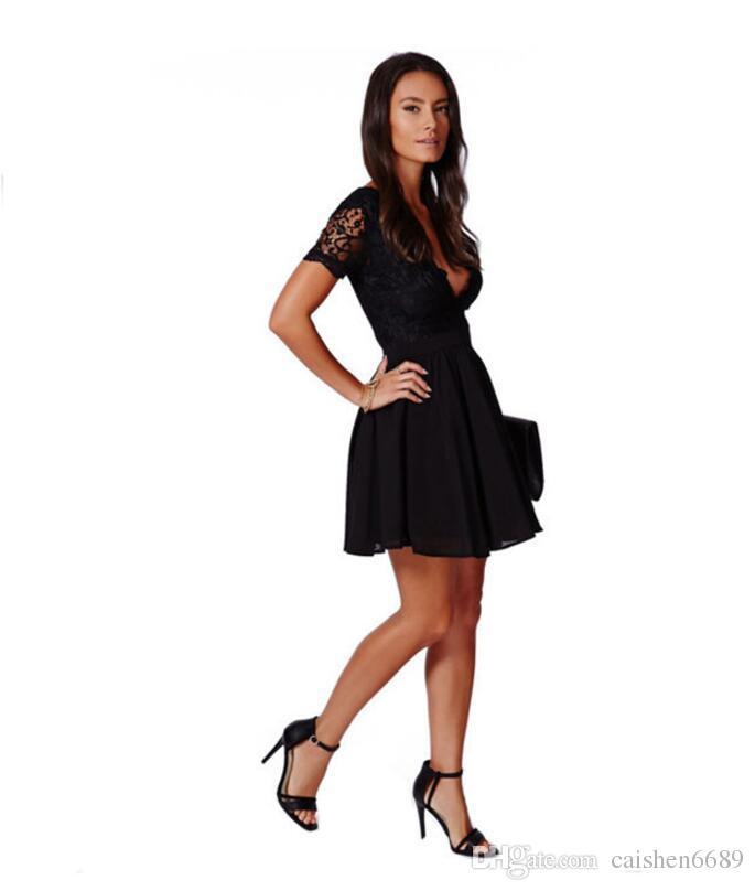 Черный сексуальный кружева кружева платье глубокий V-образным вырезом спинки шить платье Короткие высокой талией мода Женская одежда Sexy Club Party платья