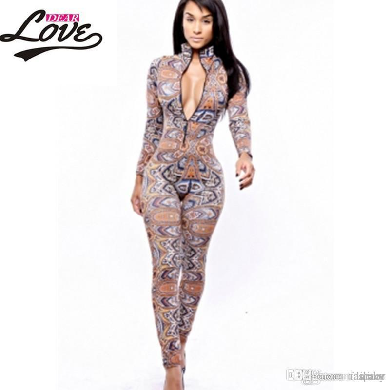 9b93ea13c49a 2019 Wholesale Sexy Jumpsuit Women Macacao Feminine 2017 Clubwear Bodycon  Rompers Womens Jumpsuit Long Pants The Thai Tribal Jumpsuit LC6747 From  Lilidar