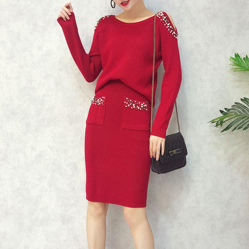 Compre Amolapha Mujer Peals Suéter Tops Trajes De Falda De Manga Larga  Fuera Del Hombro Jerseys Mujer Elegante De Punto Jumpers Faldas Set  C18110901 A ... 6c127315c96d
