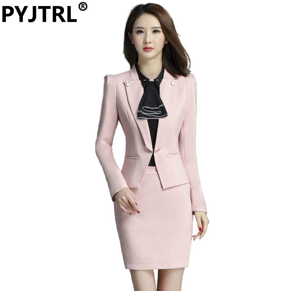 2018 wholesale pyjtrl brand two piece set pink office uniform