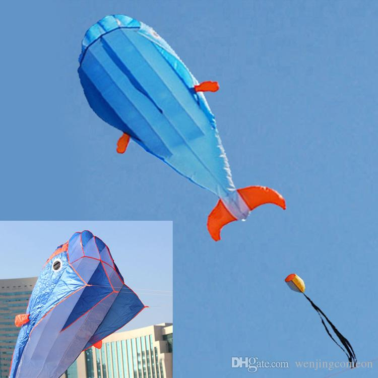 3D Huge Soft Parafoil Giant Dolphin Kite +30M Handle Line Outdoor Sport Easy to Fly Frameless Outdoor Sport Beach Frisbees