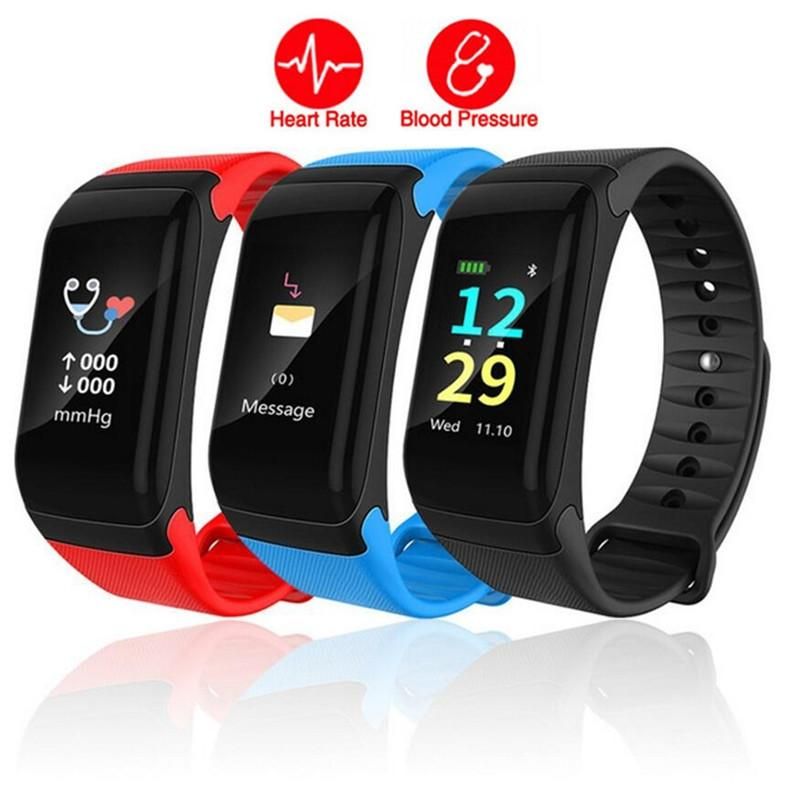 New F601 Color Touch Screen Wristband Heart Rate Blood Pressure Sleep Monitor Smart Bracelet Waterproof Fitness Tracker Health Smart Band