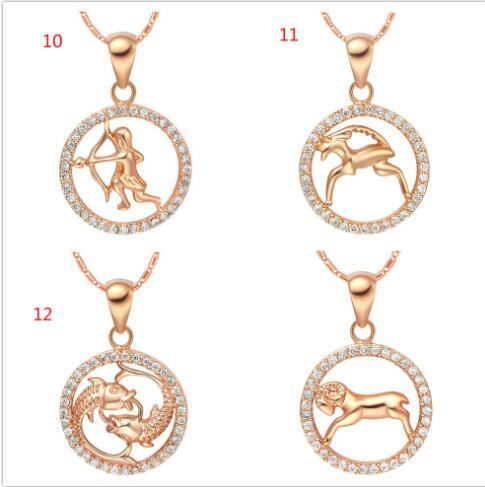 Rare 12 Zodiac Aries Taurus Gemini Cancer Leo Virgo Libra Scorpius Sagittarus Capricornus Aquarius Pisces Pendant Gold Necklace CHKN1047