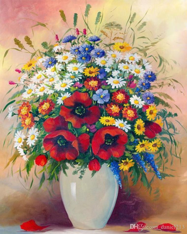 Großhandel 16x20 Zoll Schöne Verschiedene Blumen Diy Malen Auf ...