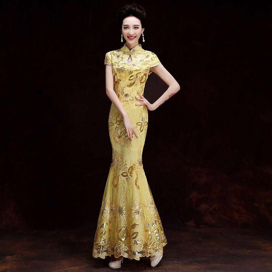 142664725 YSB051 Fashion Gold Lace Bride Wedding Qipao Long Cheongsam Chinese  Traditional Dress Slim Retro Qi Pao Women Antique Dresses Cheap Occasion  Dresses Chiffon ...