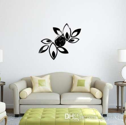 modern art flower stickers diy mirror wall clock wall sticker home