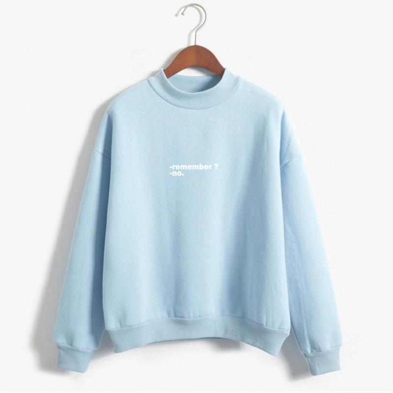 718f3905 2019 Sudaderas Mujer 2017 Hoodies Women Remember No Letters Printed Pastel  Colors Sweatshirt Moletom Feminino Turtle Neck Pullover From Maoyili, ...