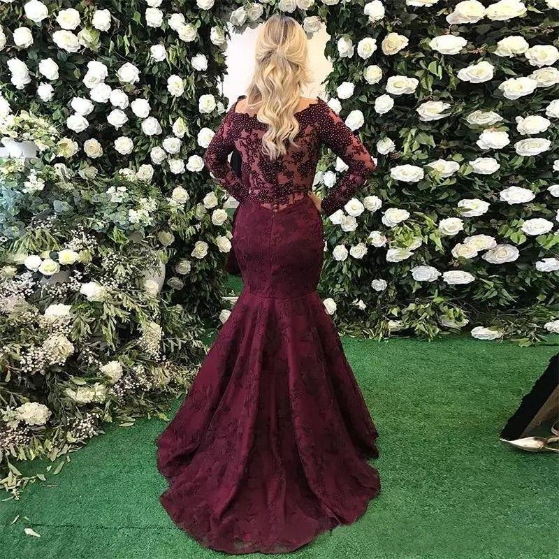 2018グレープイブニングドレス安いセクシーなスクープネックイリュージョン長袖マーメイドフルレースクリスタルビーズ真珠の正式パーティードレスプロングドレス