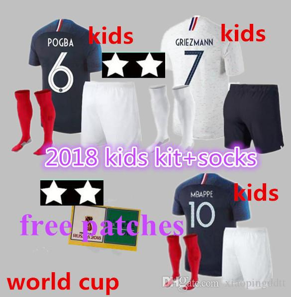 eed4039b4ee 2019 Two Star New 2018 Kids Kit Socks World Cup POGBA GRIEZMANN PAYET KANTE Mbappe  Football Shirts 18 19 National Team Home Away Soccer Jerseys.