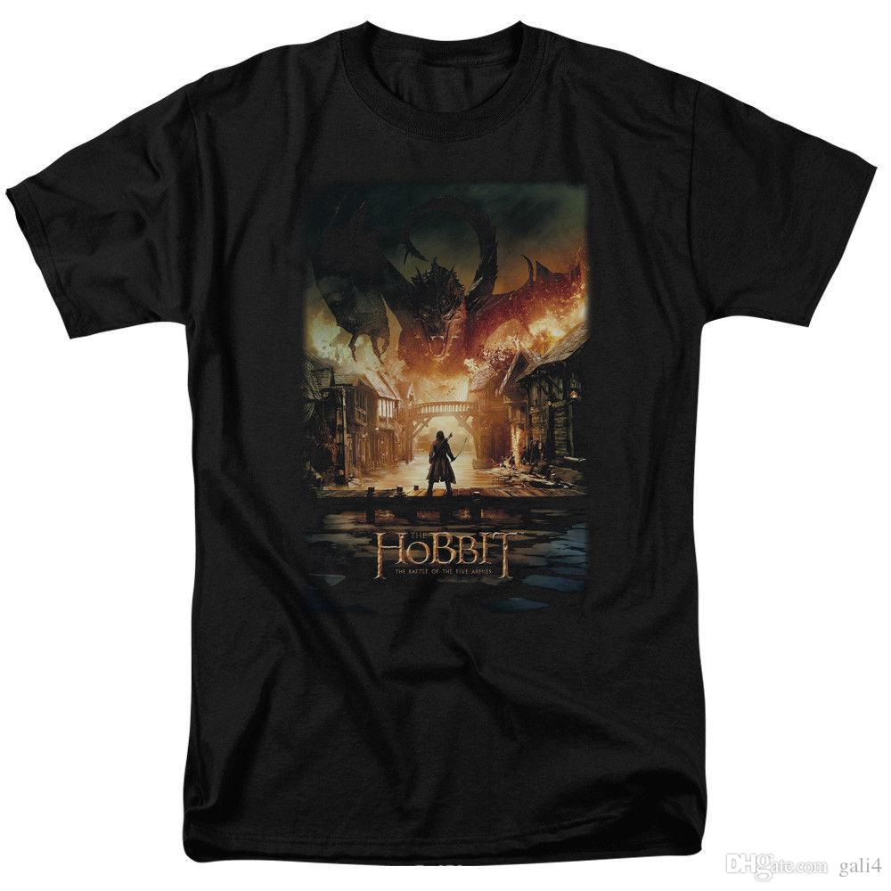 Hobbit Battle Of The Five Armies Movie Smaug Poster Licensed Adult T Shirt Cute Tatoo Lover T-Shirt