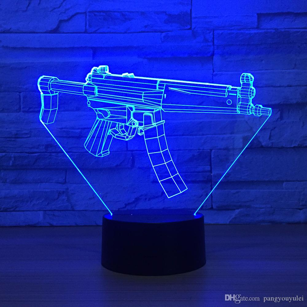 Grosshandel Coole 3d Licht Maschinengewehr Tischlampe Led