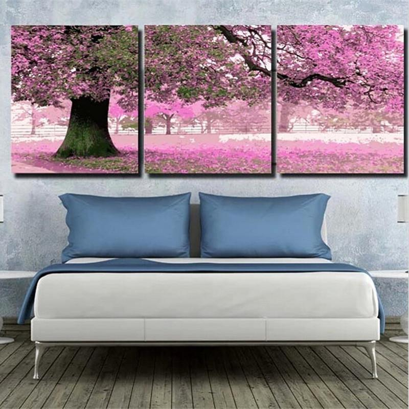 40x50cmx3pc Pink Tree Pictures Painting By Numbers DIY Digital Oil Painting Cherry Blossoms Trees Home Decoration HD1079