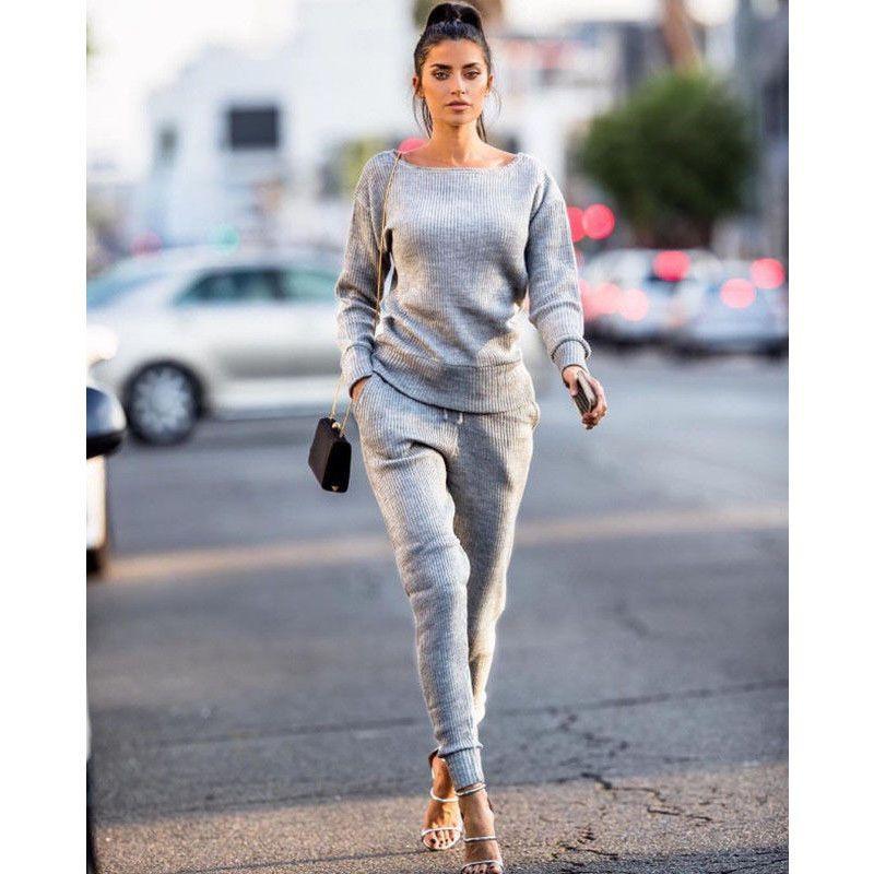 2707f9b309d Tracksuit Women Set T-shirt Tops+Sweatpants Suits Female Sets Women ...