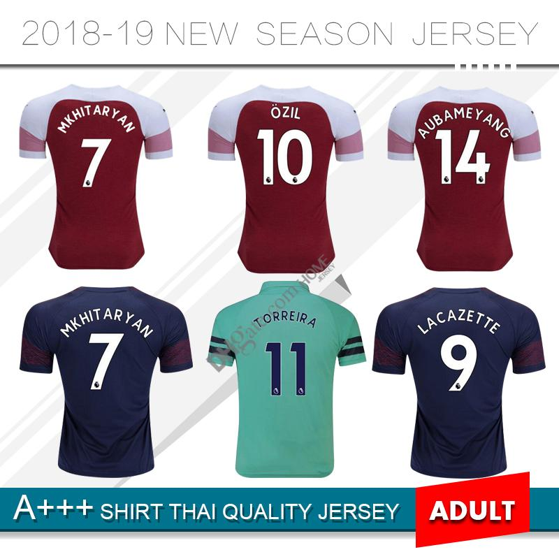 20a9a437 ... switzerland 2018 2019 arsenal home and away third soccer jersey 18 19 9  lacazette 10 ozil
