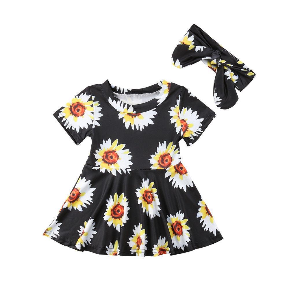 2018 Sunflower Newborn Baby Dress 2018 Princess Toddler Baby Girl A