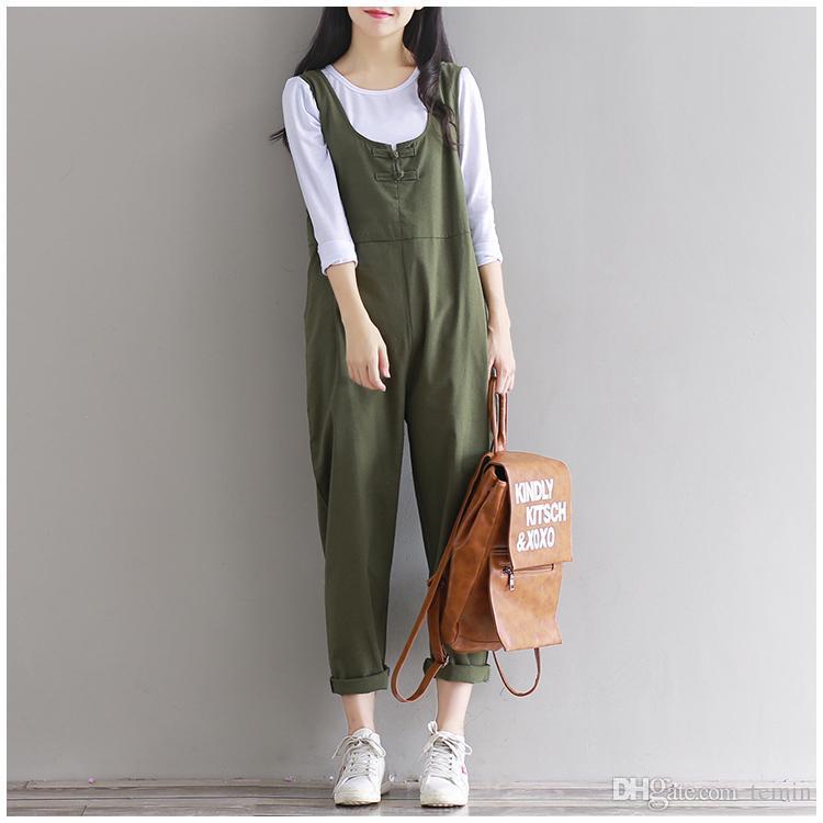 3e35e575f40a 2019 Wholesale 2016 Autumn Women Cotton Linen Jumpsuits Vintage Loose Plus  Size Rompers Student Strap Overalls Pants Cute Bib Pants 100912 From Temin