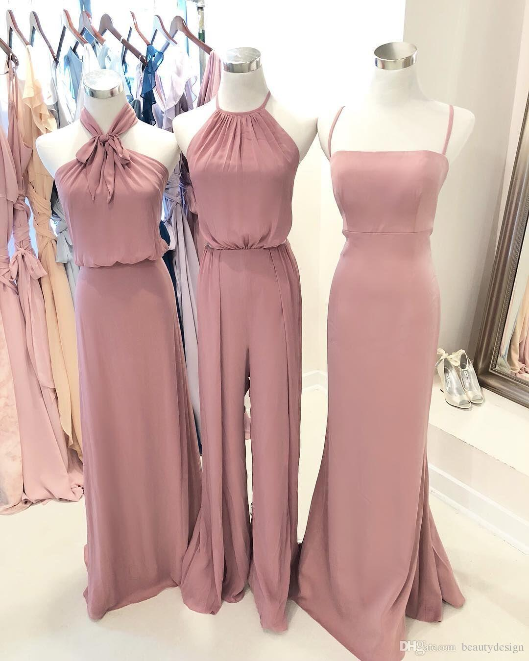 Dusty Rose Pink Bridesmaid Dresses Pant Suit Halter Ruched Chiffon