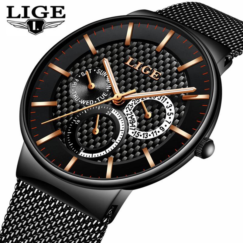 3a1e6598be5 Compre LIGE Moda Mens Relógios Top Marca De Luxo Relógio De Quartzo Homens  Casual Magro De Malha De Aço Data Relógio Do Esporte À Prova D  Água Relogio  ...