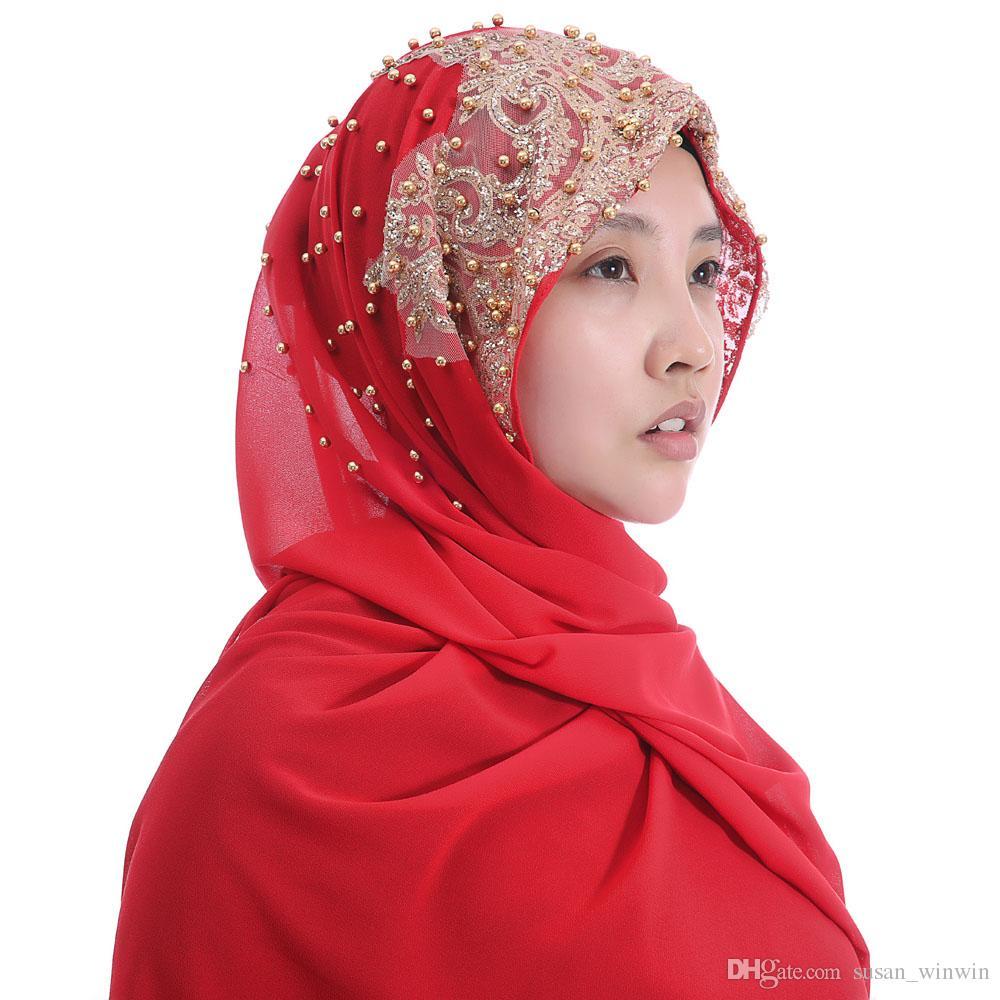 483aa59b69e7 Acheter Haute Qualité Mousseline De Soie Lourde Femmes Musulmanes Hijab  Écharpe Châle Tête De Wrap Glitter Perles 180cm X 75cm De  6.04 Du  Susan winwin ...