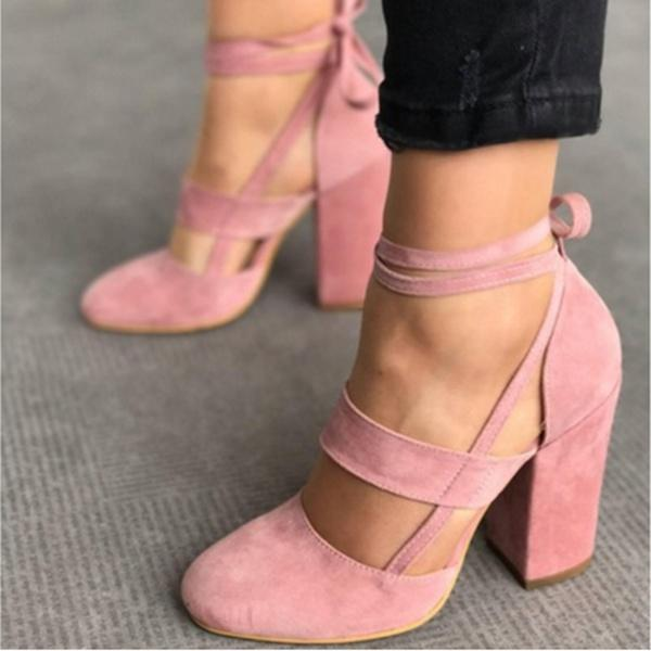 0390c0f94982b2 Women Sexy Heels Pink Color Suede Straps Thick High Heeled Shoes Summer  Party Sandals Bridal Shoes Cheap Shoes From Indelibility_, $33.17|  DHgate.Com