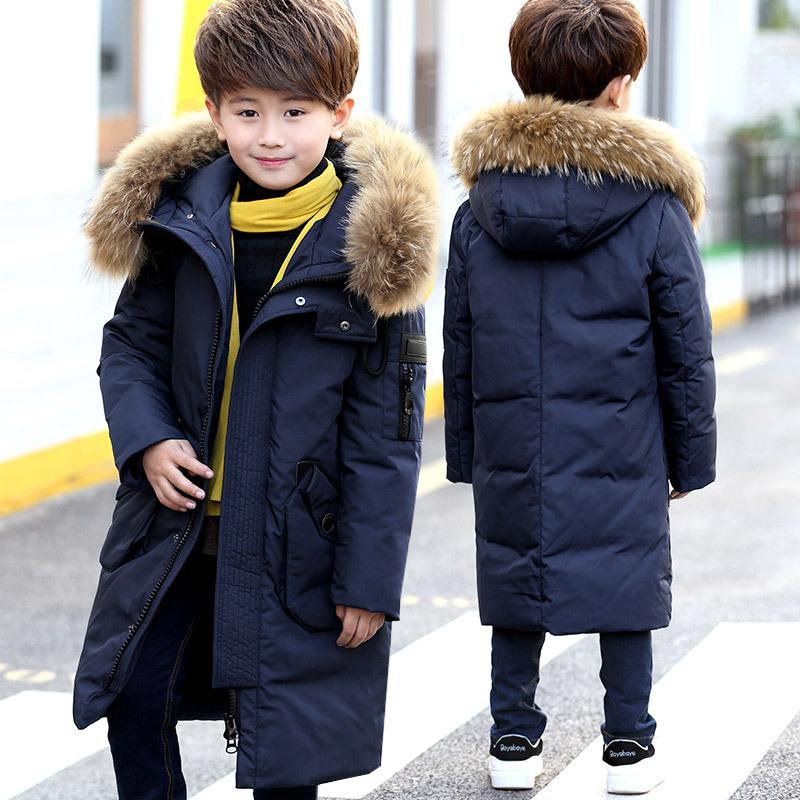 48d66aa1d 30 Degrees Boys Winter Russia Thickening Warm Down Jackets Coats Children  Long Section Knees Fur Collar Hooded Jacket Boy Down Y18102608 Down Jackets  On ...