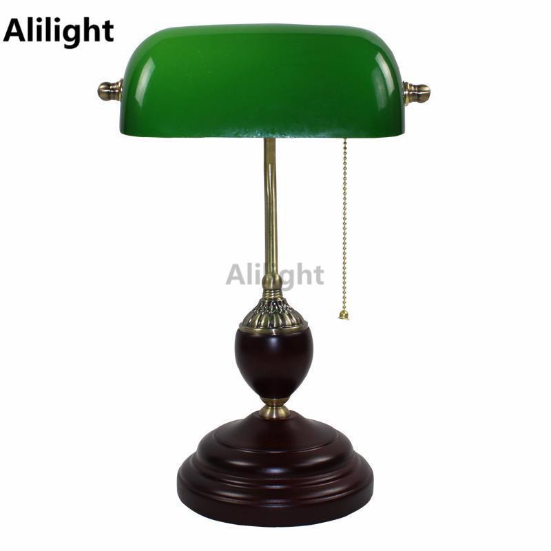 2019 Retro E27 Table Lights Emerald Green Glass Office Desk Light