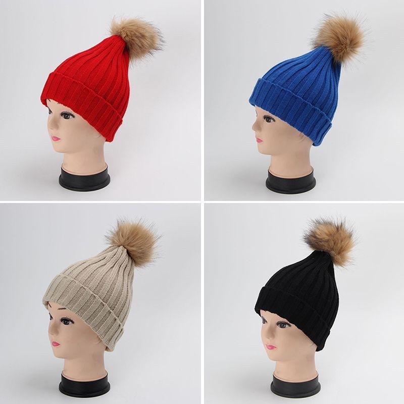 Compre Para Mujer Niñas Gorros De Punto Trenzado Crochet Invierno Cálido  Pompones De Piel Sombrero Gorros Gorro Femme Bonnet es De Caramelo Rojo  Gris A ... 357611cc685