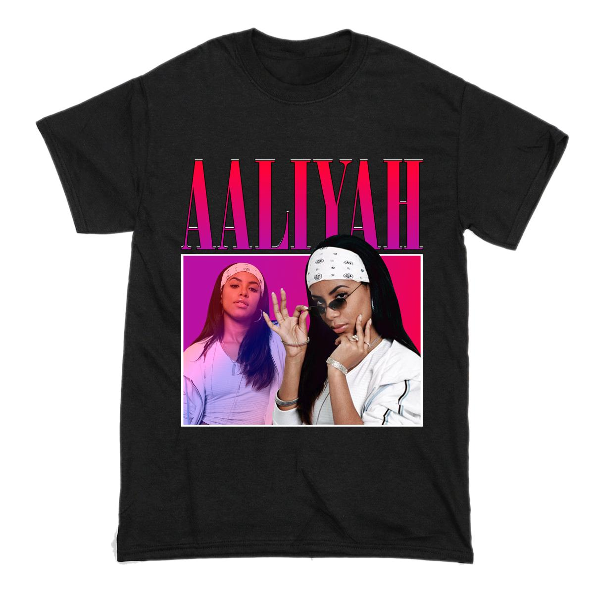 93073273 Aaliyah Men's Black Tees Shirt Print Short Sleeve Men Top Novelty T Shirts  Men'S Brand Clothing