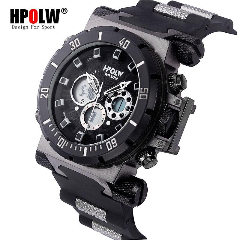 f31de3ff13d Compre HPOLW Marca De Luxo Mens Esportes Relógios De Mergulho Digital LED  Watch Men Moda Eletrônica Casual Relógios De Pulso Relógio De Juemin