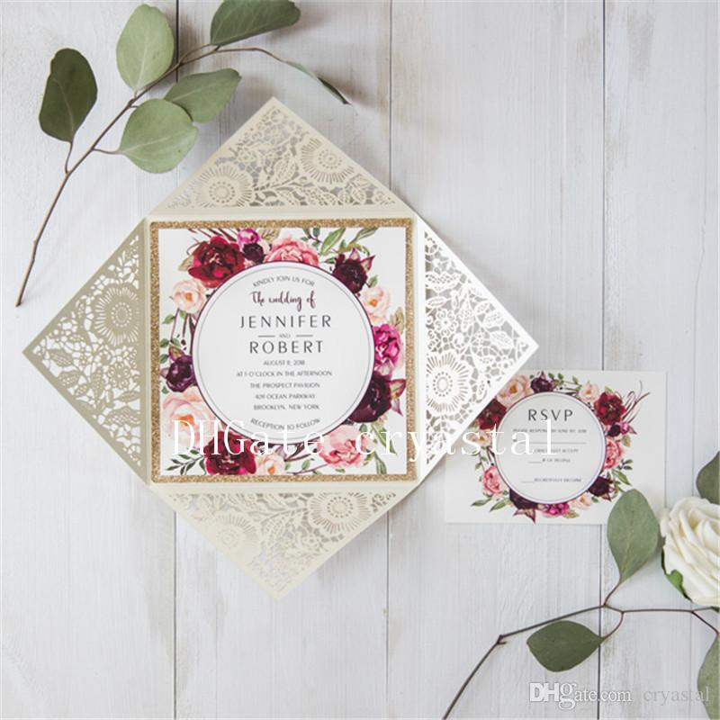 Cheap Unique Wedding Invitations: 2018 Ivory Laser Cut Floral Unique Wedding Invitations