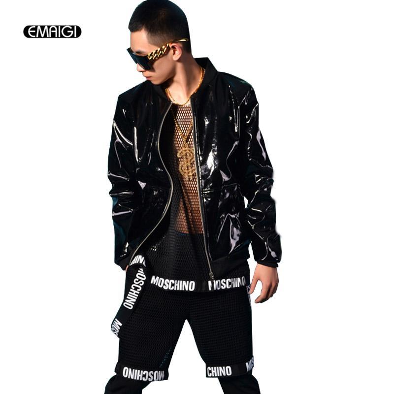 d1bee75bfe Men Black Patent Leather Jacket Coat Custom Made Stage Rock Hip Hop  Costumes Nightclub Bar DJ Singer Clothing Black Coats And Jackets Mens  Jacket For Sale ...