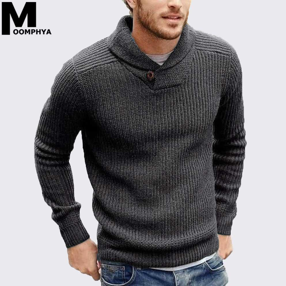 Moomphya Cowl neck knitted men sweater pullover men long sleeve winter sweater sueter hombre stylish slim male pull homme