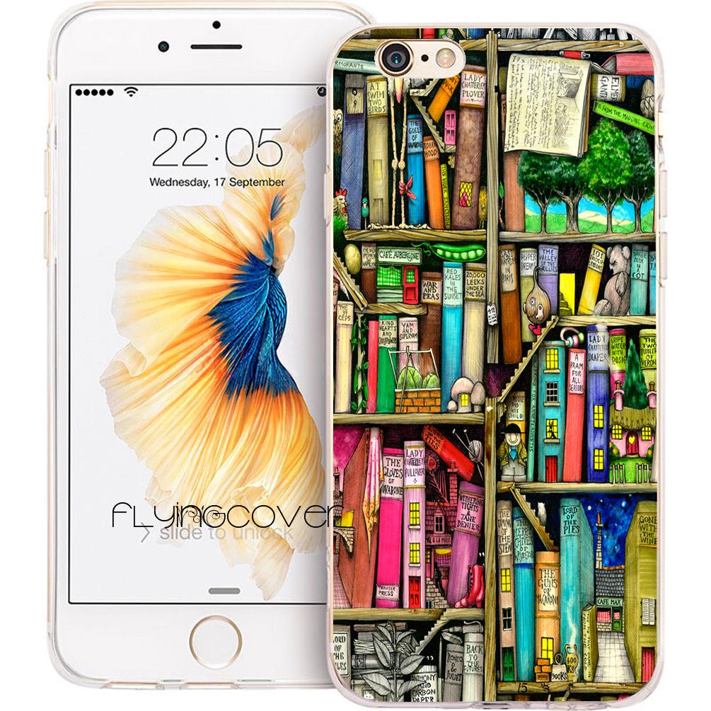 d6b7bb14770 Coque Bookshelf Bookcase Books Clear Soft TPU Silicone Phone Cover For  IPhone X 7 8 Plus 5S 5 SE 6 6S Plus 5C 4S 4 IPod Touch 6 5 Cases.