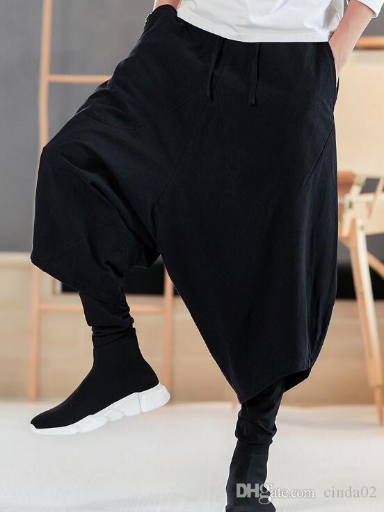 13e74b467cb 2019 Mens Oversize Pants Hip Hop Fake Drawstring Harem Pants Hommes  Streetwear Loose Dancing Cross Pants Mens Solid Color Clothing Pants From  Just4urwear