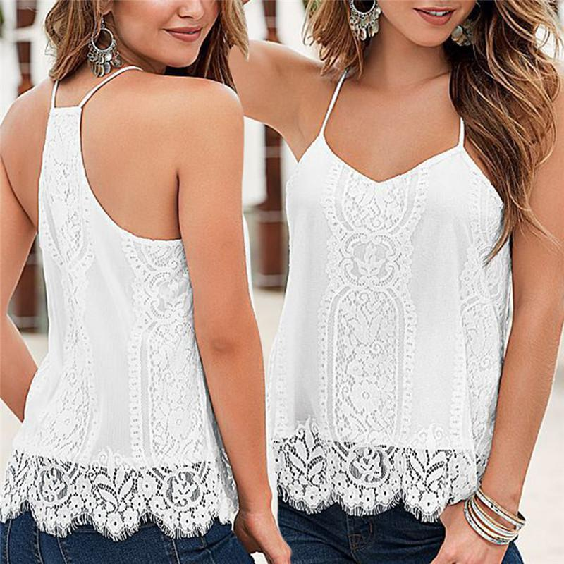 3f45082346 2019 2018 White Black V Neck Sleeveless Shirt Backless Summer Lace Top  Camis Sexy Tank Top Women Camisole Ladies From Veilolive, $33.74 |  DHgate.Com
