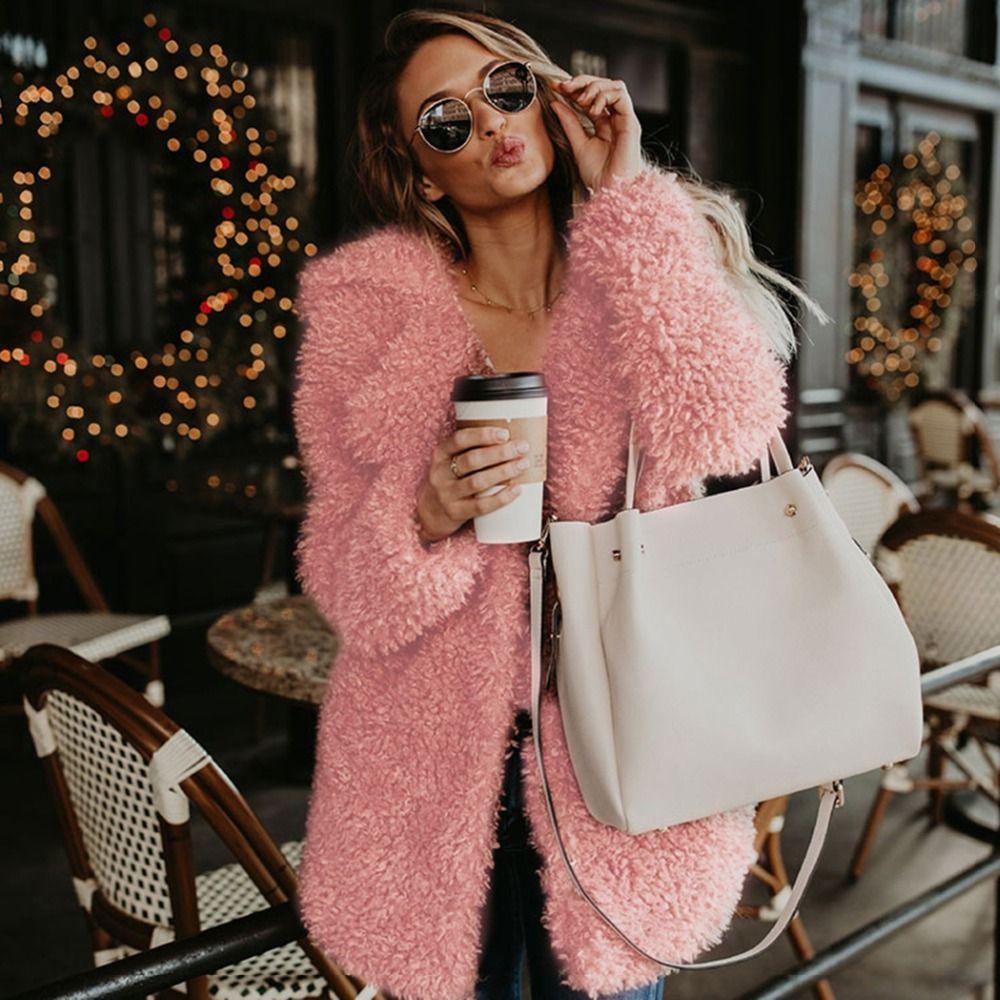 ecbdedaaec0 Women Fashion Plush Fluffy Long Jacket Streetwear Faux Fur Coat ...