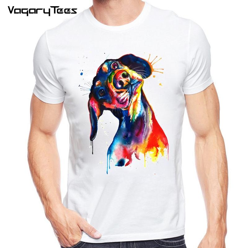 a12e291d3 Newest Funny Hand Painted Dachshund T-shirt Men's Animals Watercolor T Shirt  Summer Hipster Cool Male Streetwear Tee Tops