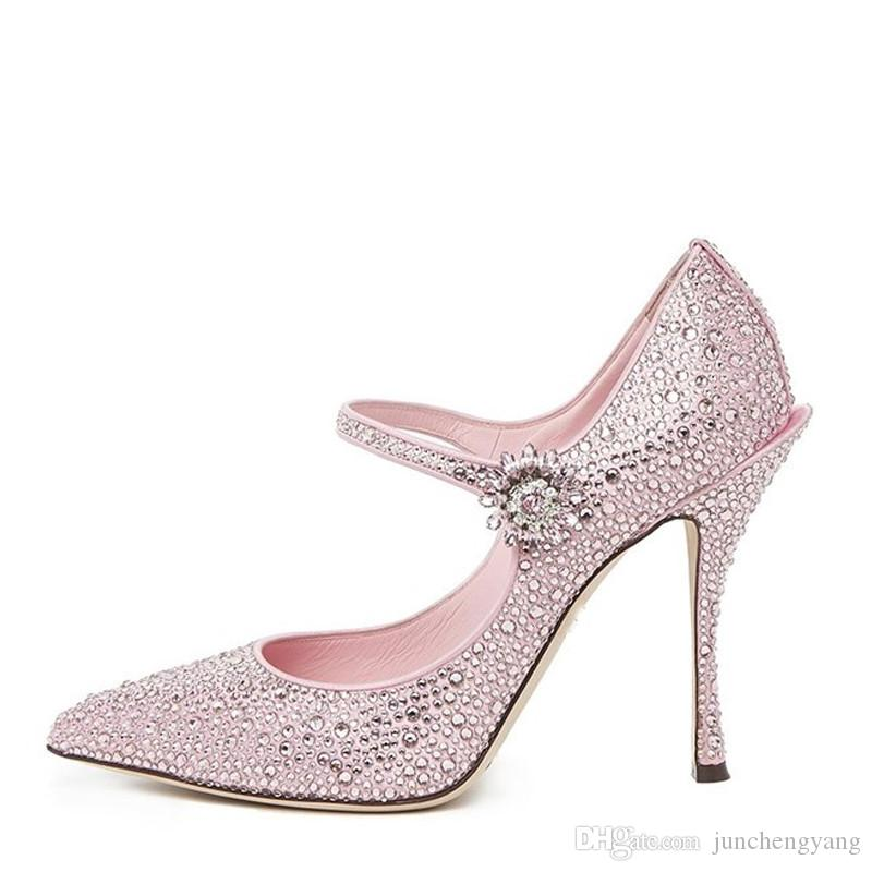 Studded Crystal Buckle Women Pumps Pink Pointy Toe High Heel Banquet ... 52228e2ea46c