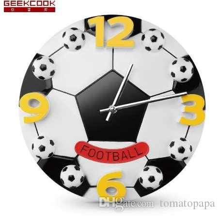 12 Inch Football Wall Clock Modern Design Creative Children Bedroom Wall Watch Mute Living Room Cartoon Digital Clock Wall