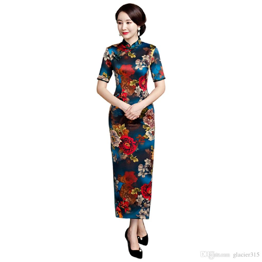 f82694196 Vestidos Para Balada Xangai História Estilo Chinês Vestido Longo Cheongsam  Floral Qipao Chinês Oriental Dress Vestido De Festa De Manga Curta Para As  ...