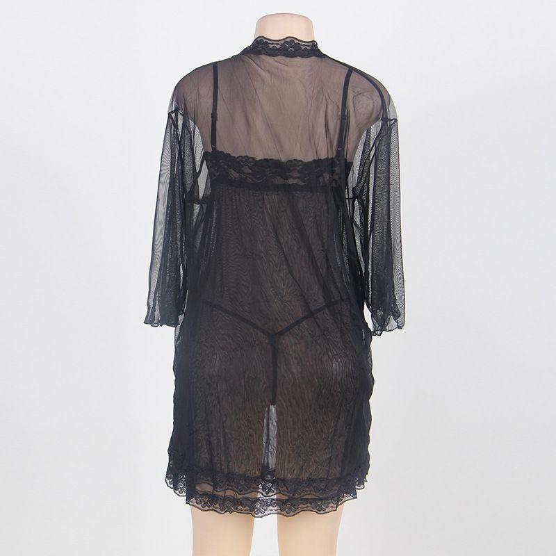 Plus size Women's Sheer Mesh Kimono Robe with Full slip Chemise Lingerie Set Babydoll Black Purple thin mesh sleepwear