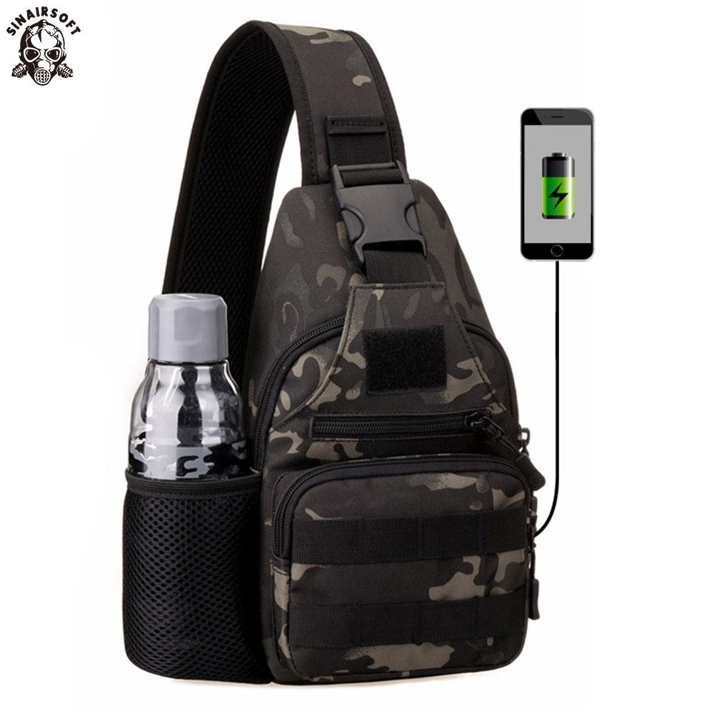 Tactical Military Bag Shoulder Chest Cross Body Backpack For Men Women Sports Climbing Hiking Travel Bag With Usb Charging Port Climbing Bags