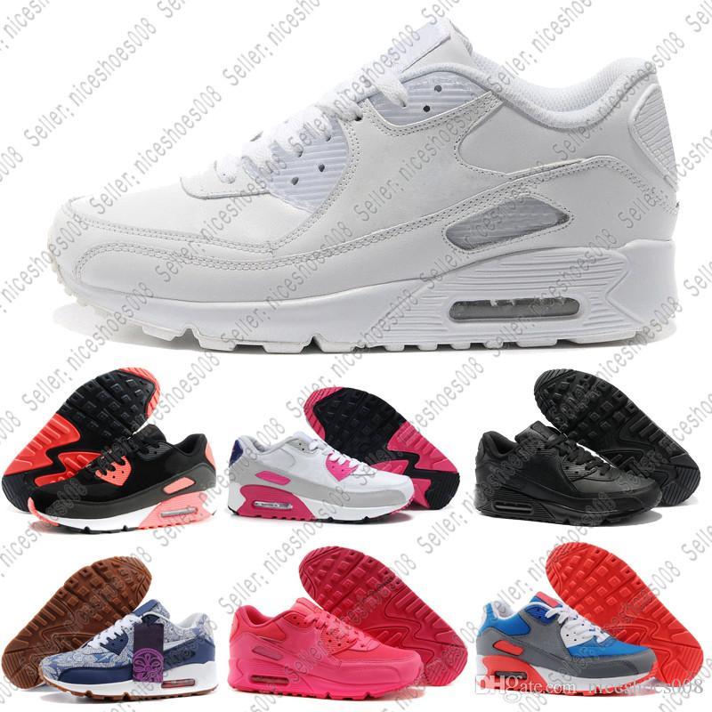 reputable site 8a876 47cbd Nike Air Max Airmax 90 2018 90 Zapatos Clásicos 90 Mujer MS Zapatillas Negro  Rojo Blanco Entrenador Deportivo Air Cushion Superficie Deportes  Respirables ...