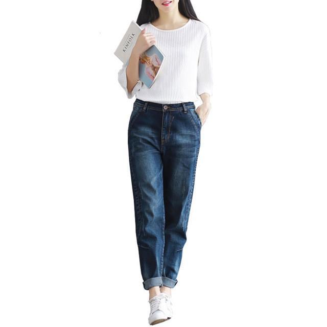 47f5c5f57d5 Boyfriend Jeans Harem Pants Women Trousers Casual Plus Size Loose Fit  Vintage Denim Pants High Waist Jeans Women Full Pants Harem Pants Jeans  Trousers ...