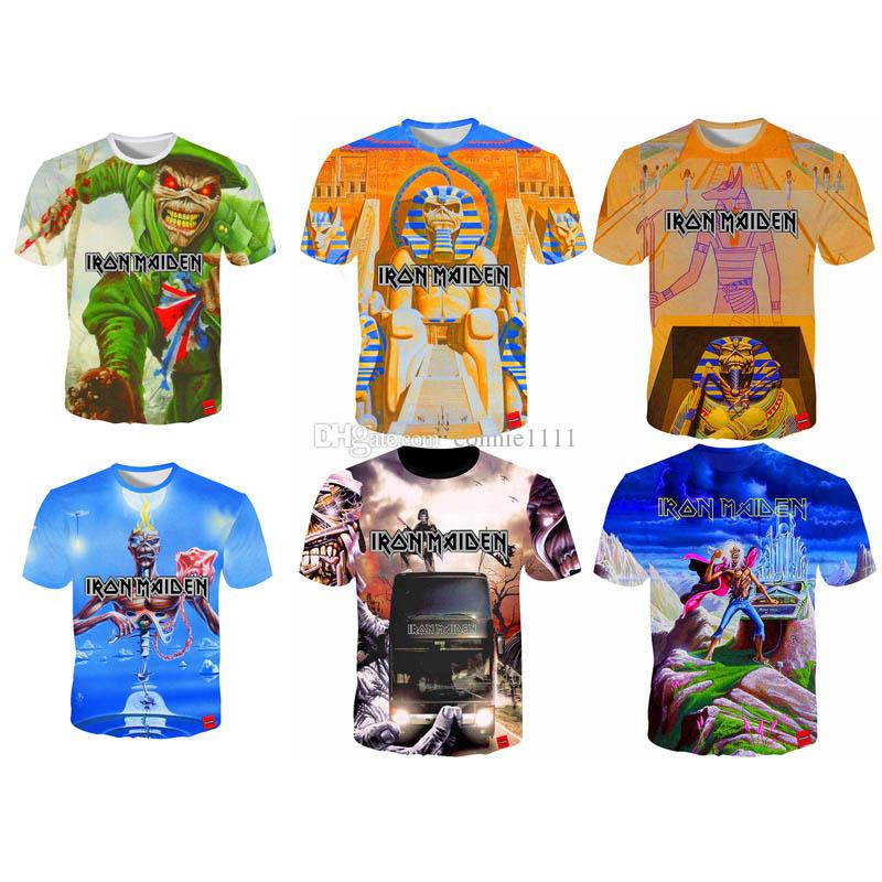 Compre Venta Al Por Mayor Iron Maiden T Shirt Hot Men Women T Shirt Rock  Band 3D Camisetas Moda Streetwear T Shirt Skull Camiseta S 5XL 12 Estilos A   9.14 ... 788dfbb18be15